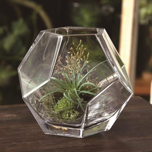 多肉植物の造花グリーン ガラス花器アレンジ