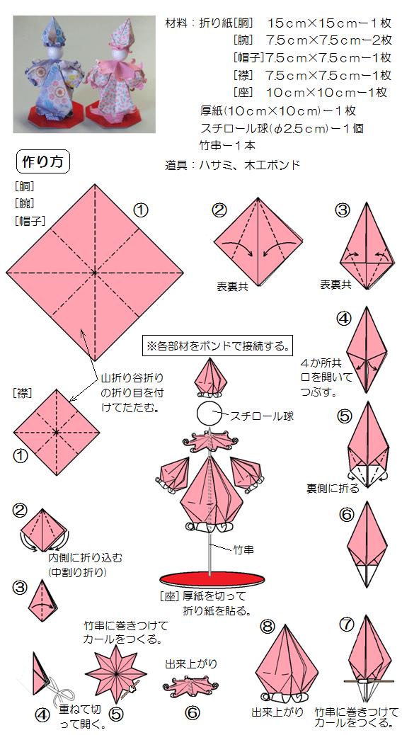 すべての折り紙 折り紙 ひな人形 作り方 : 折り紙のピエロ k - おもちゃ ...