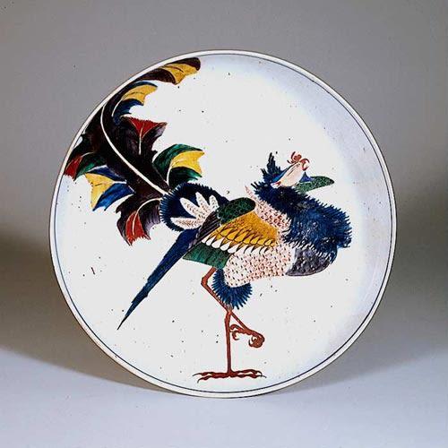 i色絵鳳凰図 平鉢 県文 17世紀