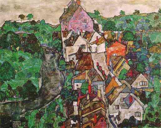 シーレ「クルマウの風景」・・・世界遺産の町:チェコ「チェスキークルムロフ」を描いたものです。