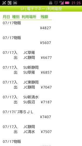 静岡地区でのSF(電子マネー利用履歴)