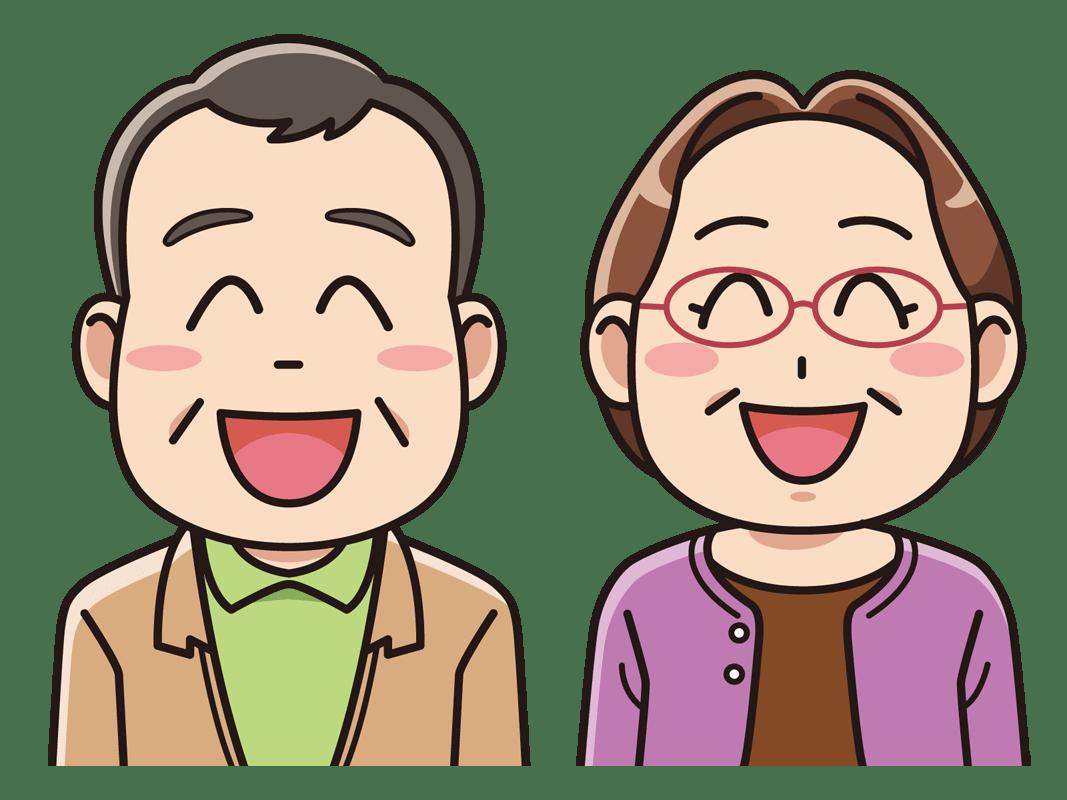 笑顔のシニアの夫婦(無料イラスト素材) - イラスト素材図鑑