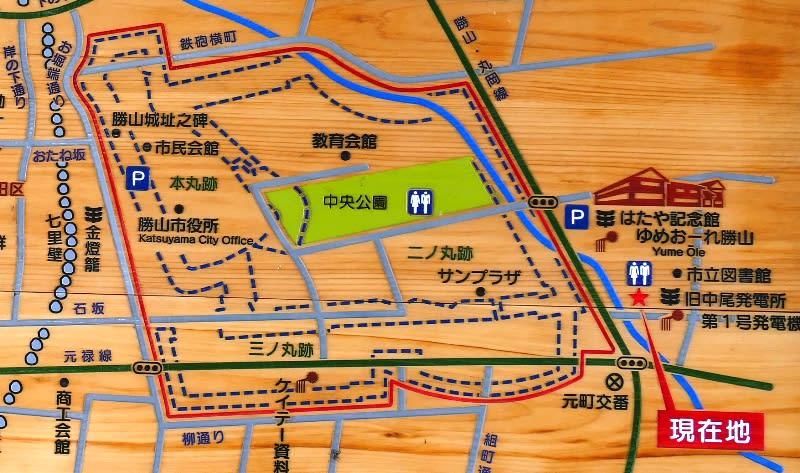 勝山城址付近の地図