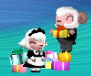 ¥メイちゃんからのプレゼントに飛び上がって喜ぶひつじのしつじくん