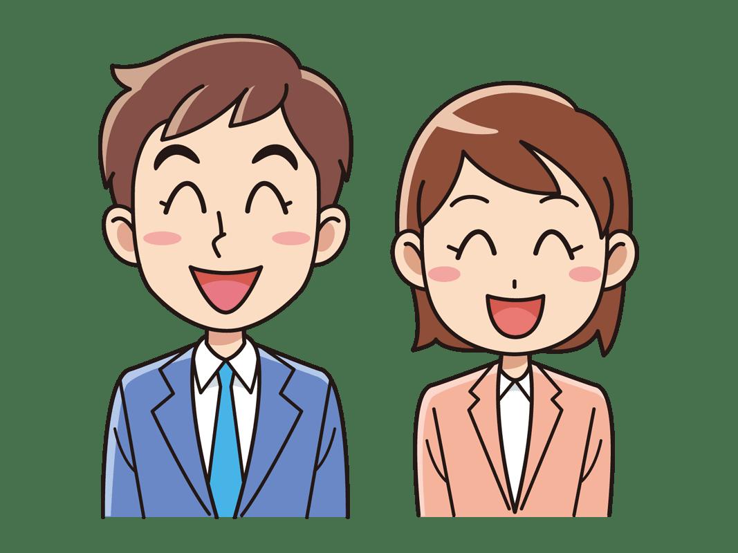 スーツを着た笑顔の男女(無料イラスト素材) - イラスト素材図鑑