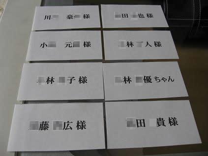 こちらがドレス色当てクイズの紙です これも普通のコピ-用紙に名前を印刷したものです