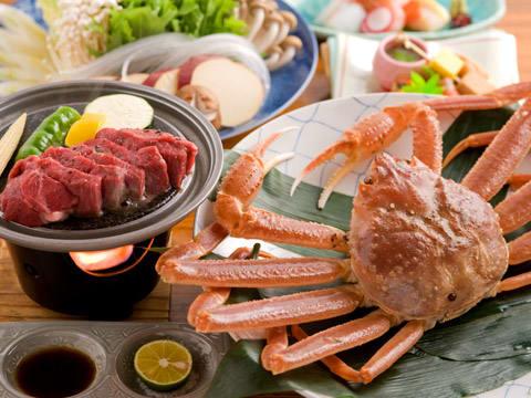浜坂産蟹すき鍋と但馬牛ステーキプラン