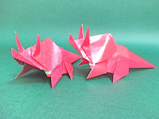 ハート 折り紙 折り紙 恐竜 トリケラトプス 折り方 : blog.goo.ne.jp