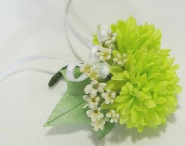 アートフラワー(造花)卒園 卒業コサージュ ライトグリーン色