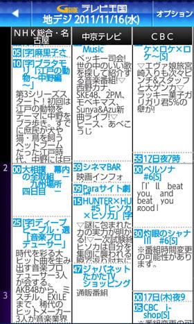 番組表は新聞のテレビ欄形式