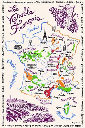 フランスワインの地図キッチンタオル・ティータオル通販