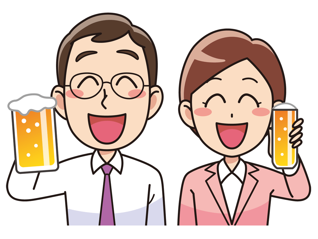 ビールで乾杯する男女(無料イラスト素材) - イラスト素材図鑑