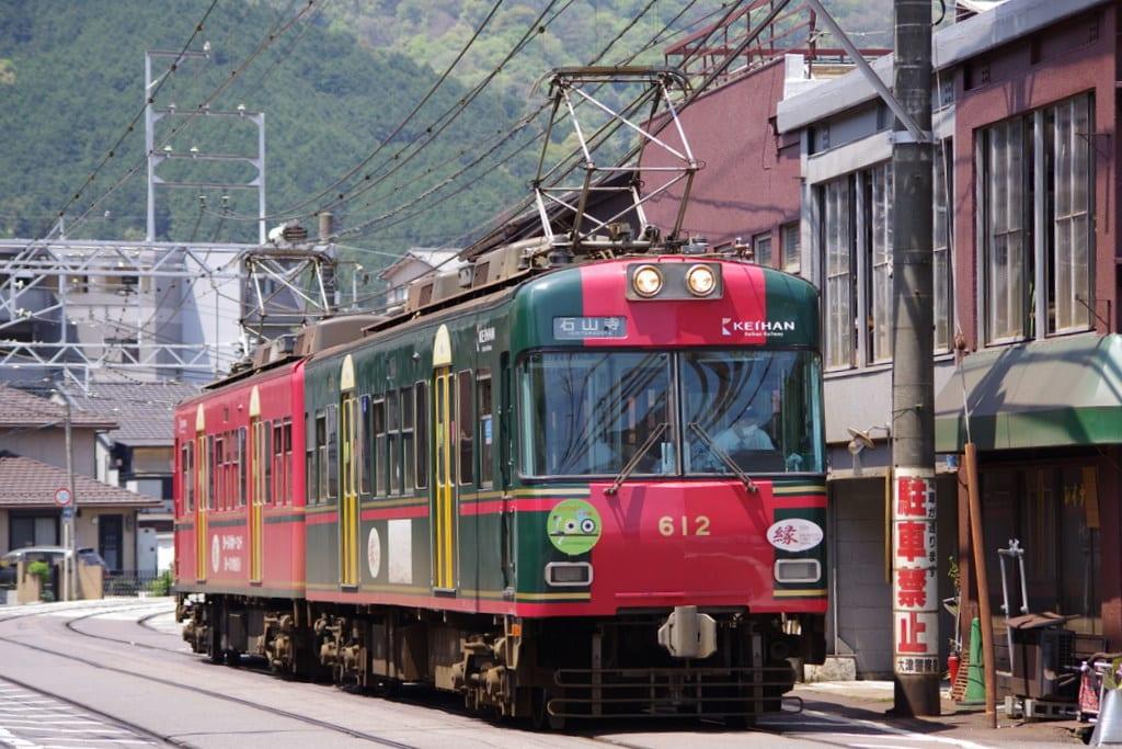 京阪600形坂本ケーブル塗色車大津線開業100周年記念ヘッドマーク付