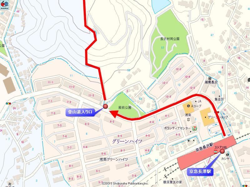 三浦富士登山道入り口の地図