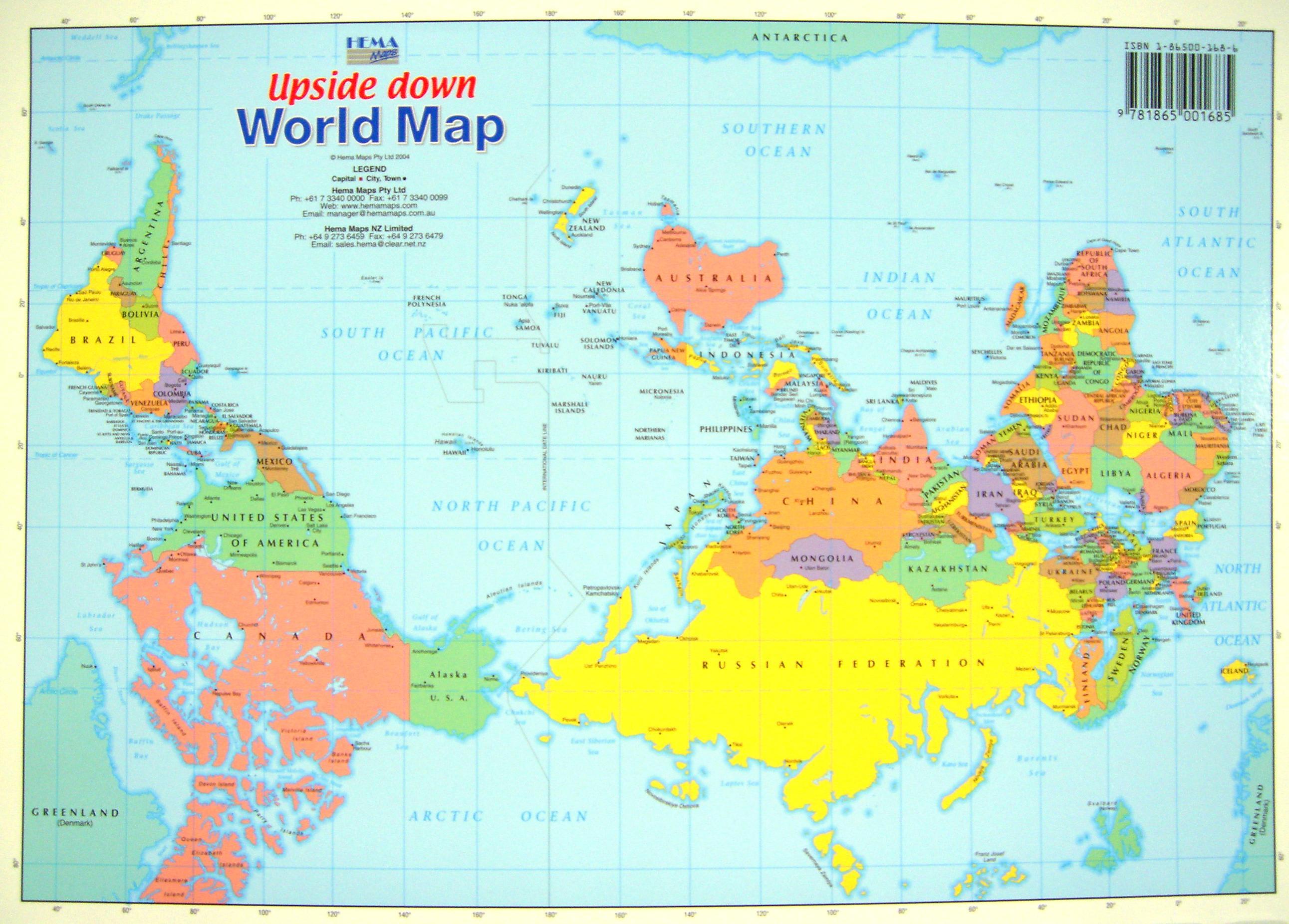 Upside Down World Map : 日本地図 ポスター : 日本