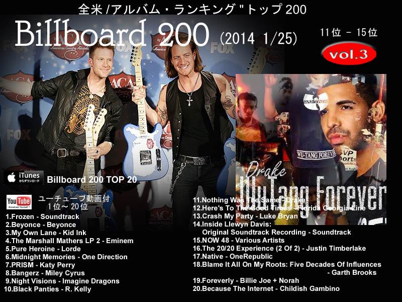 アメリカ/音楽/アルバム/ランキング/Billboard 200(2014 1/25 ...