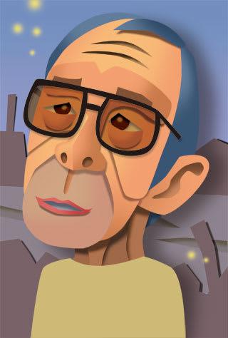 野坂昭如の似顔絵イラスト画像 作家の野坂昭如さんの似顔絵を描いてみました。 デジタルで、ペーパー