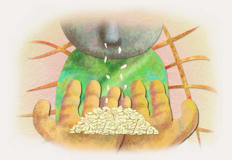 鼻かけ地蔵 白いお米がぽろぽろ落ちる