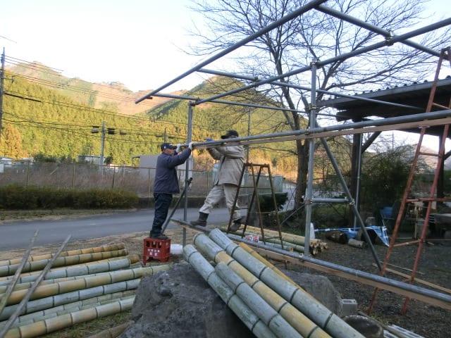 竹の風除け