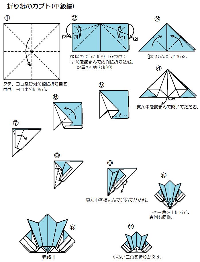 ... 折り方・かぶとの作り方 : 折り紙 折り方 無料 : 折り方