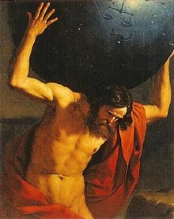 ギリシャ神話に出てくる、天空の重みで顔を歪めるアトラス