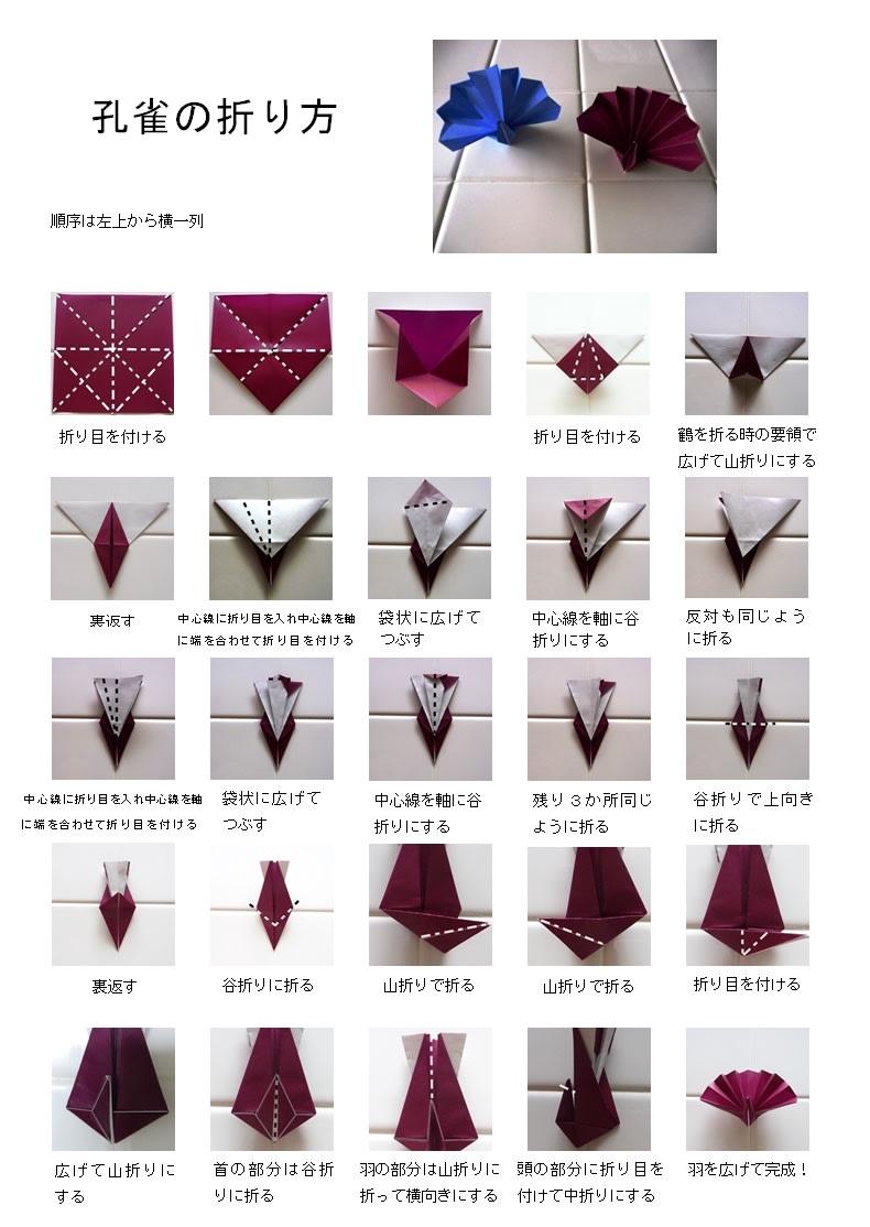 折り紙 孔雀の折り方 - 日々の ... : 花 折り紙 くす玉 : 花 折り紙