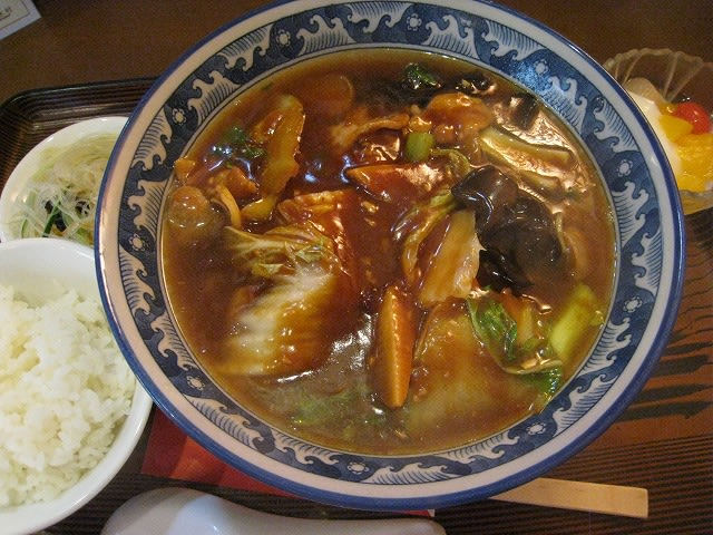 中麺(中国みそのあんかけ麺)