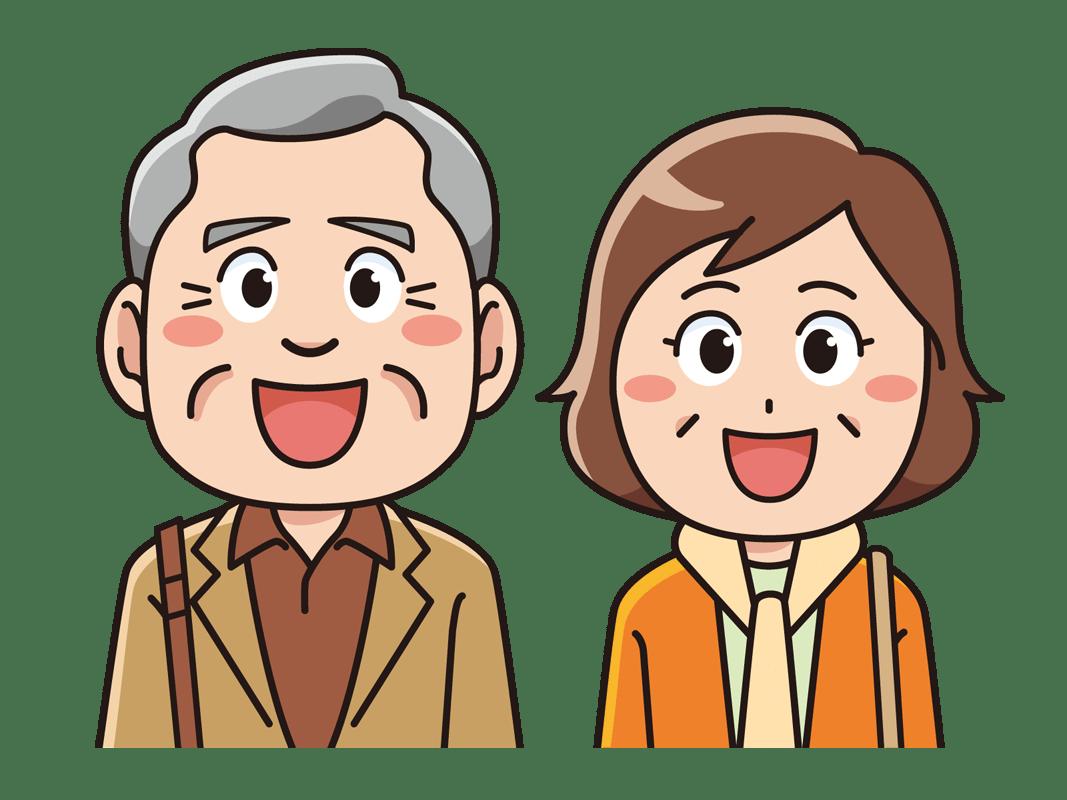 旅行に行くシニア夫婦(無料イラスト素材) - イラスト素材図鑑