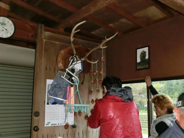鹿の角に吊るす