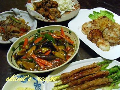 ごはんネタが遅れてますが。。。 火曜日の晩御飯 残り物と野菜がいっぱいの晩御飯