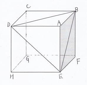 。三角錐A-BDEと立方体との体積 ...