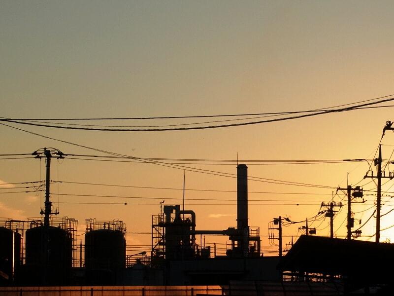 10月14日 工業団地の夕陽