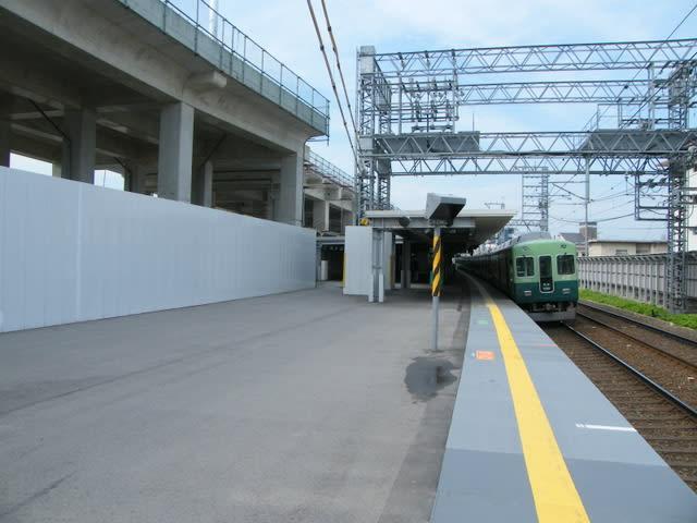 京阪淀駅大阪方面ホーム