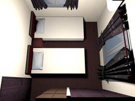 ベットを並べたお部屋を3D化