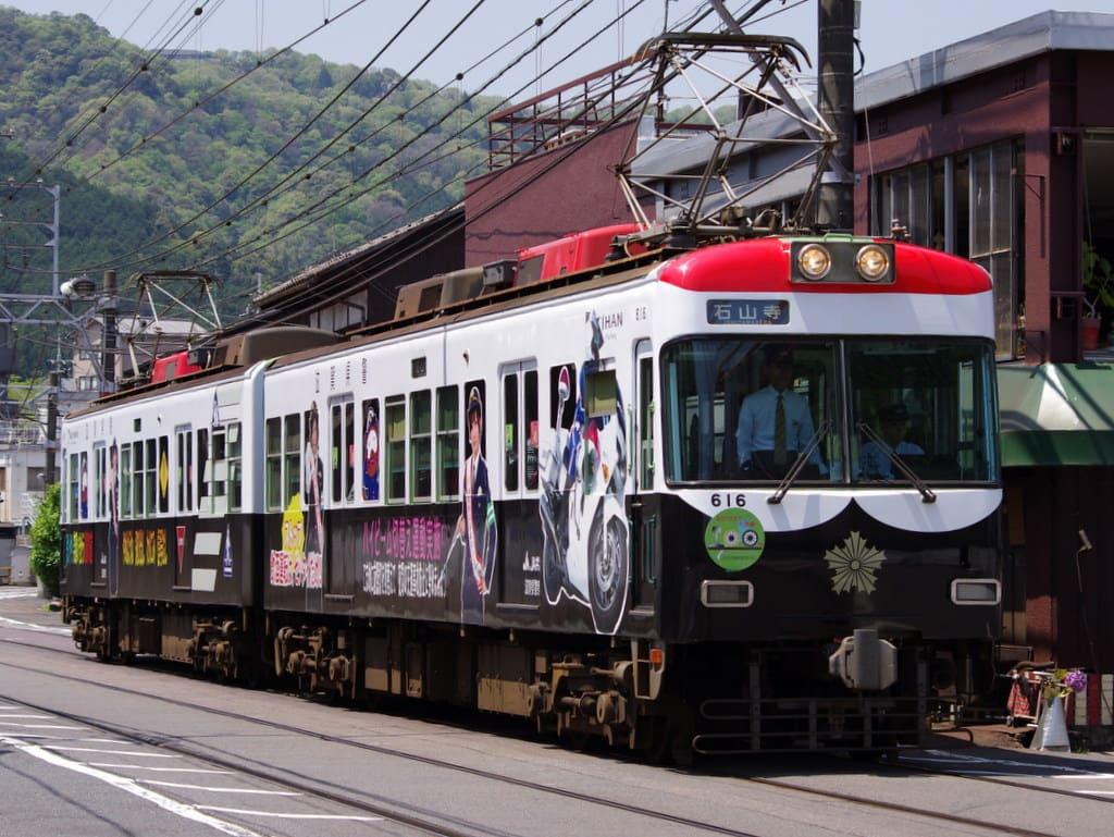 京阪600形「パト電」大津線開業100周年記念ヘッドマーク付