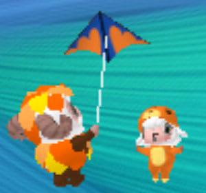ミノムシとシマリスが凧揚げ