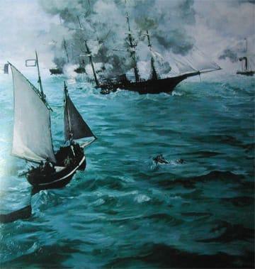 エドアール・マネ「キアサージ号とアラバマ号の海戦」