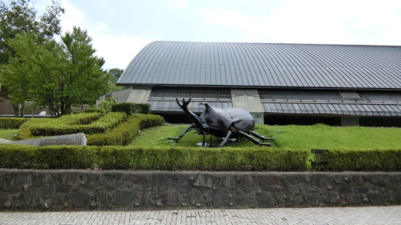 群馬県立自然史博物館の前には巨大なカブトムシ