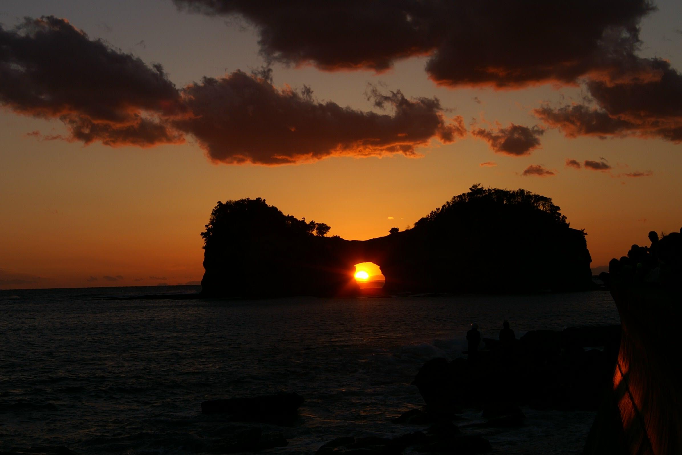 円月島の夕陽