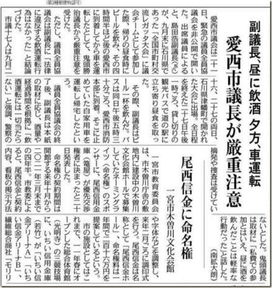 副議長飲酒(中日新聞)