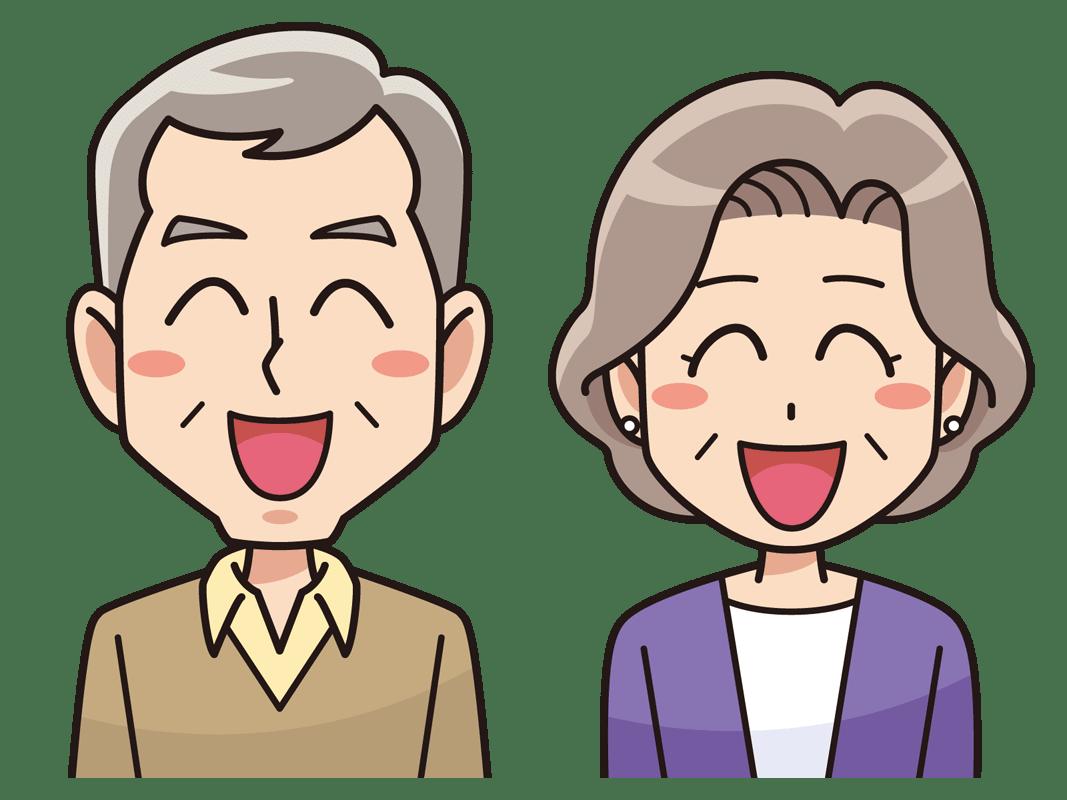 笑顔の年配夫婦(無料イラスト素材) - イラスト素材図鑑
