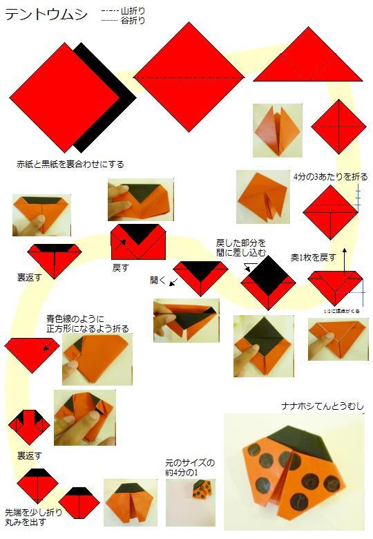 折り紙:てんとう虫/1枚 ...
