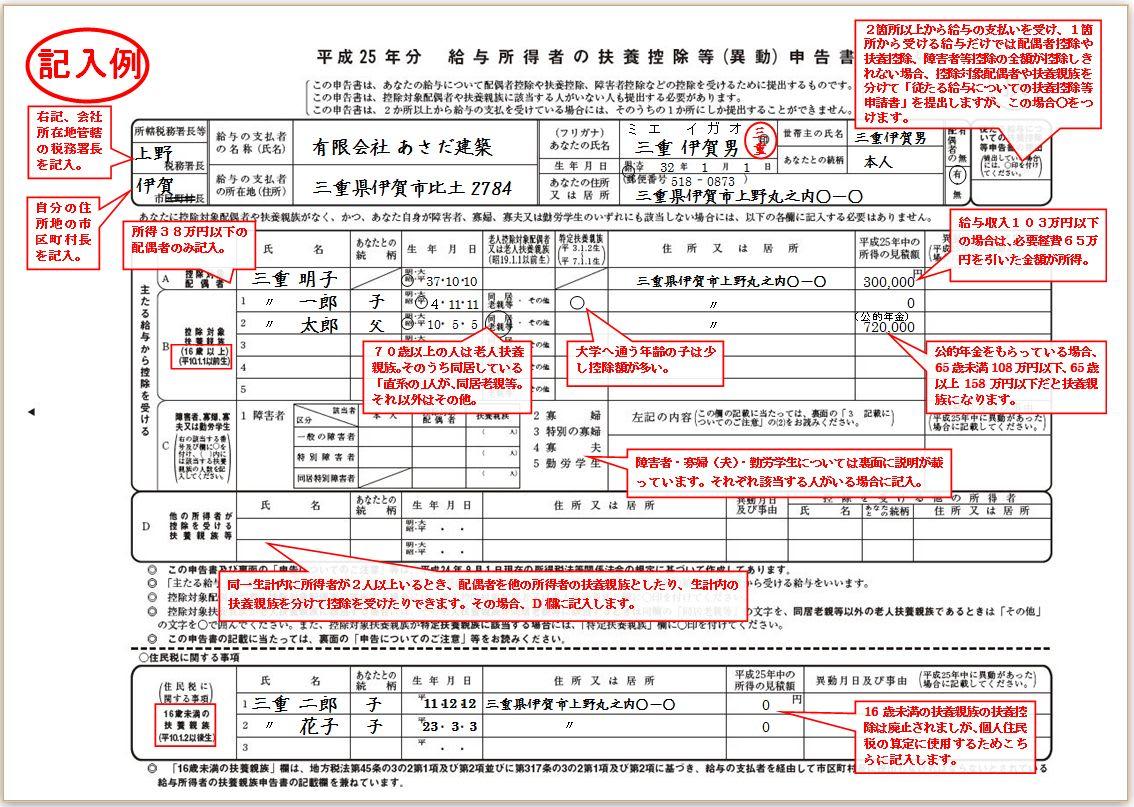 給与 所得 の 扶養 控除 等 申告 書