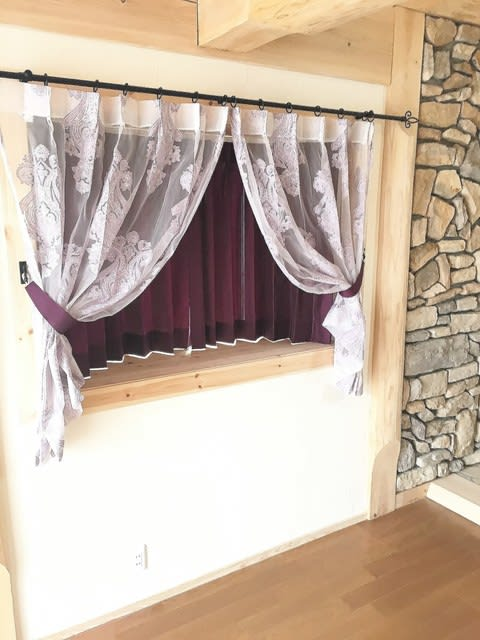 インレースカーテン,紫,花柄,パープル