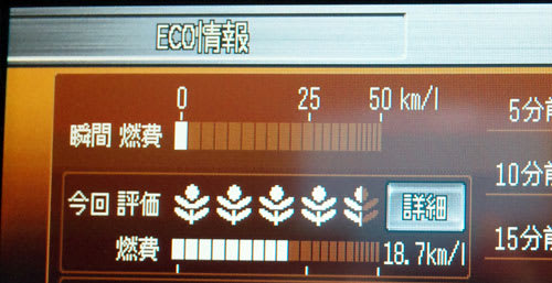 メーカーオプションナビのECO情報画面の白いリーフ