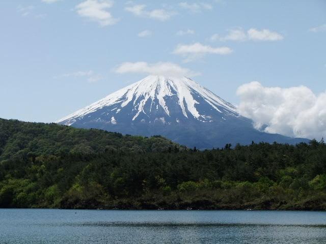 富士五湖の精進湖と富士山 富士五湖の西湖と富士山 富士五湖の本栖湖近くの芝桜の竜神池と富士山 ジ