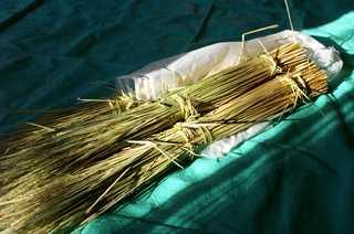 いよいよ注連縄(しめなわ)作りに入ります。 先ず、刈り取った稲を、稲わらと穂