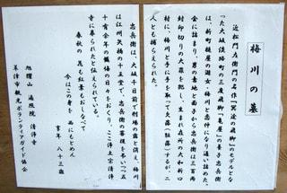 梅川の墓に関する説明(境内入り口)