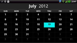 英語表示のカレンダー機能