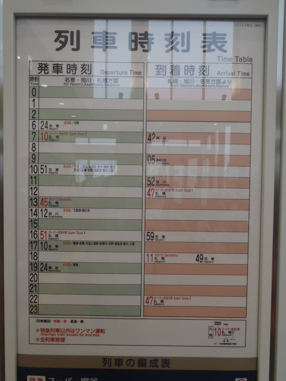 駅構内 には AM7:10発 札幌行き ...